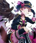 1girl \m/ alternate_hairstyle bangs black_choker black_feathers black_nails black_wings blue_hair choker commentary_request cross-laced_clothes earrings facial_mark feathered_wings feathers fingerless_gloves frilled_sleeves frills gloves grin hat hat_feather highres jacket jewelry legs_crossed looking_at_viewer love_live! love_live!_sunshine!! mia_(fai1510) nail_polish ring side_ponytail single_glove sitting smile solo star studded suspenders thighlet tsushima_yoshiko v_over_eye violet_eyes wings