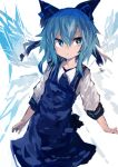 1girl :< absurdres arms_at_sides bangs blue_dress blue_eyes blue_hair bow cirno cowboy_shot dress hair_between_eyes hair_bow highres ice ice_wings kaamin_(mariarose753) shirt simple_background solo standing touhou white_background white_shirt wing_collar wings
