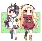 2girls absurdres alternate_costume backpack bag bangs black_bow black_hair black_legwear blonde_hair boots bow casual closed_mouth commentary_request drawstring earrings ereshkigal_(fate/grand_order) eyebrows_visible_through_hair fate/grand_order fate_(series) hair_bow hands_in_pockets highres hood hoodie infinity ishtar_(fate/grand_order) jako_(jakoo21) jewelry long_hair long_sleeves looking_at_viewer looking_away multiple_girls profile red_bow red_eyes red_hoodie sandals single_thighhigh standing thigh-highs tiara tohsaka_rin two_side_up very_long_hair white_hoodie