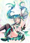 1girl aqua_hair arm_up boots elbow_gloves gloves green_eyes green_hair haruka_natsuki hatsune_miku high_heels highres long_hair looking_at_viewer open_mouth skirt solo thigh-highs thigh_boots twintails vocaloid