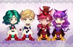 4girls animal_ears aqua_hair bangs bishoujo_senshi_sailor_moon blonde_hair blue_eyes blue_footwear blue_sailor_collar blue_skirt boots bouquet bow brown_hat cat_ears chibi chocolate cure_chocolat cure_macaron dog_ears dog_tail earrings elbow_gloves elena_ivlyushkina extra_ears flower food_themed_hair_ornament gloves green_footwear green_skirt hair_ornament hat heart jewelry kaiou_michiru kenjou_akira kirakira_precure_a_la_mode knee_boots kotozume_yukari long_hair looking_at_viewer macaron_hair_ornament magical_girl multiple_girls neptune_symbol one_eye_closed outer_senshi parted_bangs precure purple_background purple_hair purple_legwear purple_skirt red_bow red_eyes red_flower red_footwear red_rose redhead rose sailor_collar sailor_neptune sailor_senshi sailor_senshi_uniform sailor_uranus shoes short_hair skirt smile super_sailor_neptune super_sailor_uranus swept_bangs tail ten'ou_haruka thigh-highs thigh_boots top_hat uranus_symbol violet_eyes white_gloves yellow_bow