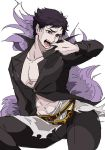 1boy belial_(granblue_fantasy) black_belt black_hair black_pants black_shirt contrapposto fangs feather_boa granblue_fantasy kyuu_(ost) long_sleeves looking_at_viewer male_focus pants pectorals popped_collar red_eyes shirt simple_background sitting solo white_background