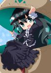 1girl :d arms_up bangs black_bow black_dress blush bow commentary_request dress eyebrows_visible_through_hair frilled_bow frills gothic_lolita green_eyes green_hair hair_between_eyes head_tilt lolita_fashion long_sleeves looking_at_viewer magatama open_mouth osaragi_mitama oshiro_project oshiro_project_re red_footwear shoes sitting smile solo yoshinogari_(oshiro_project)