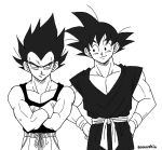 2boys artist_name black_eyes black_hair black_shirt crossed_arms dougi dragon_ball dragonball_z gloves hand_on_hip looking_at_another male_focus monochrome multiple_boys pants shirt short_hair simple_background sleeveless smile son_gokuu spiky_hair standing vegeta white_background wristband