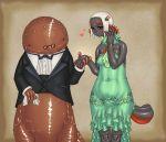 couple dress giant_salamander grey_skin hellbender jon_henry_nam kemono monster_girl original salamander tuxedo