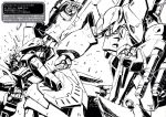damage gespenst highres mecha monochrome super_robot_wars super_robot_wars_original_generation