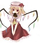 chocolate flandre_scarlet hat mouth_hold muzuki_hikari red_eyes touhou wings