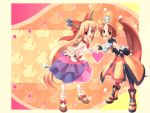 blonde_hair brown_eyes brown_hair crossover fang gloves guilty_gear hat horns ibuki_suika may may_(guilty_gear) multiple_girls orange_background pirate pirate_hat red_eyes ribbon skull_and_crossbones touhou walkalone