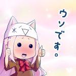 blush cat_hat hat megurine_luka megurine_luka_(toeto) monar natsumi_akira thumbs_up toeto toeto_(vocaloid) uso_desu vocaloid