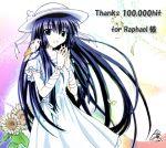bird_on_shoulder blue_hair dress feathers flower galaxy_angel green_eyes hat hits karasuma_chitose long_hair sunflower