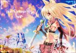 blonde_hair dagger elbow_gloves gloves highres kisaichi_jin long_hair navel pixiv pixiv_fantasia pixiv_fantasia_3 red_eyes runes skirt sky tattoo weapon