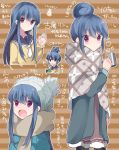 1girl blue_hair cup hair_bun hair_down hidejiu long_hair long_sleeves multiple_views open_mouth pantyhose scarf school_uniform shima_rin striped striped_background violet_eyes yurucamp