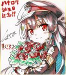 1girl armband bangs black_hair black_hat black_jacket blush bouquet closed_mouth commentary_request cura dated eyebrows_visible_through_hair flower hair_rings hat head_tilt highres jacket long_hair long_sleeves looking_at_viewer maitetsu peaked_cap red_eyes red_flower red_rose rose signature sketch smile solo traditional_media very_long_hair