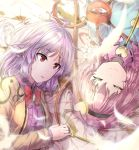 2girls bow bowtie braid brown_jacket closed_eyes eyeball feathers frills hairband heart jacket kishin_sagume komeiji_satori lipstick looking_at_another lying makeup medium_hair multiple_girls on_back on_side open_clothes open_jacket open_mouth pink_hair red_eyes red_neckwear silver_hair smile third_eye touhou y2