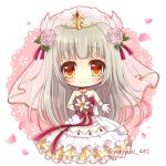 1girl bangs bare_shoulders blush bouquet bow bridal_veil brown_eyes chibi closed_mouth collarbone commentary_request dress eyebrows_visible_through_hair flower full_body gloves grey_hair hair_flower hair_ornament holding holding_bouquet long_hair outstretched_arm petals pink_flower pink_rose purple_bow purple_ribbon ribbon rose rouche_(shironeko_project) shironeko_project smile solo strapless strapless_dress twitter_username veil very_long_hair wedding_dress white_dress white_flower white_gloves yukiyuki_441