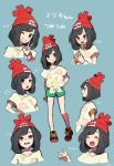 1girl arms_behind_back beanie black_hair blush closed_eyes crying crying_with_eyes_open expressions from_side green_shorts grin hat highres miu_(miuuu_721) mizuki_(pokemon_sm) one_eye_closed open_mouth pokemon pokemon_(game) pokemon_sm red_hat shirt short_hair short_sleeves shorts simple_background smile tears tied_shirt v z-ring