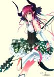 1girl asymmetrical_horns bare_shoulders blue_eyes boots bow breasts curled_horns dated detached_sleeves elizabeth_bathory_(fate) elizabeth_bathory_(fate)_(all) fate/grand_order fate_(series) high_heel_boots high_heels highres holding holding_staff horns medium_hair one_leg_raised plaid plaid_skirt pointy_ears redhead sakusyo shoes signature simple_background skirt small_breasts smile solo spiked_shoes spikes staff standing standing_on_one_leg tail yellow_background