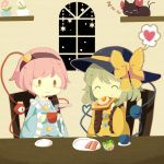 2girls ^_^ bacon bow chair closed_eyes commentary_request cup eating egg flower food green_hair hairband hat hat_bow hat_ribbon heart heart_of_string highres holding holding_cup kaenbyou_rin kaenbyou_rin_(cat) komeiji_koishi komeiji_satori long_sleeves moyo_(amaniwa) multiple_girls pink_hair plant plate potted_plant ribbon salad shelf short_hair sitting sleeping smile spoken_heart star steam table third_eye toast touhou wide_sleeves window zzz