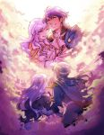 2boys 2girls blue_hair cape celice_(fire_emblem) clouds diadora_(fire_emblem) father_and_daughter father_and_son fire_emblem fire_emblem:_seisen_no_keifu headband highres long_hair mother_and_daughter mother_and_son multiple_boys multiple_girls parent_and_child sigurd_(fire_emblem) smile tiuana_rui wavy_hair white_hair yuria_(fire_emblem)