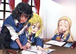 3girls andou_(girls_und_panzer) angry bangs bc_freedom_school_uniform black_hair black_skirt black_vest blonde_hair blue_neckwear blue_sweater book brown_eyes cake cardigan closed_eyes closed_mouth commentary_request curtains dark_skin dress_shirt drill_hair eating eraser eyebrows_visible_through_hair fang food fork frown girls_und_panzer holding holding_book holding_food homework indoors long_hair long_sleeves marie_(girls_und_panzer) mechanical_pencil medium_hair miniskirt multicolored_neckwear multiple_girls necktie notebook open_mouth oshida_(girls_und_panzer) paper pen pencil plate pleated_skirt red_neckwear shirt shutou_mq sitting skirt smile standing striped_neckwear sweatdrop sweater sweater_around_neck table v-shaped_eyebrows vest white_shirt wing_collar