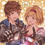1boy 1girl 4 anniversary blonde_hair bob_cut breastplate brown_hair dated djeeta_(granblue_fantasy) fighter_(granblue_fantasy) gauntlets gran_(granblue_fantasy) granblue_fantasy granblue_fantasy_(style) looking_at_viewer lyria_(granblue_fantasy) milli_little number official_style open_mouth orange_background short_hair simple_background sketch smile twitter_username upper_body vee_(granblue_fantasy)