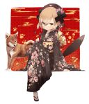 1girl animal arm_support bangs black_feathers black_hair black_hat black_kimono brown_eyes commentary_request copyright_request dog dog_tail egasumi eyebrows_visible_through_hair feathers floral_print flower hair_between_eyes hair_flower hair_ornament hat highres japanese_clothes kimono light_brown_hair long_sleeves mabuta_(byc0yqf4mabye5z) obi pink_flower print_kimono sash shippou_(pattern) short_hair sitting sleeves_past_wrists socks solo tabi tail white_flower white_legwear wide_sleeves zouri