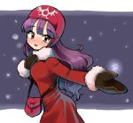 1girl breasts commentary_request dragon_quest dragon_quest_ii hat hood hood_up long_hair long_sleeves looking_at_viewer minami_(mnm-kyk) princess princess_of_moonbrook purple_hair solo standing