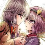 2girls bow bowtie braid brown_jacket face-to-face frilled_sleeves frills from_side hairband hand_holding hand_on_another's_cheek hand_on_another's_face heart interlocked_fingers jacket kishin_sagume komeiji_satori light long_sleeves looking_at_another medium_hair multiple_girls open_clothes open_jacket pink_eyes pink_hair red_eyes red_neckwear silver_hair touhou upper_body y2 yuri