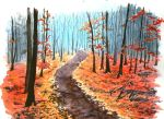 adept-ex autumn autumn_leaves bare_tree day forest highres landscape nature no_humans original road scenery traditional_media tree watercolor_(medium)