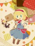 1girl :d alice_margatroid apron ascot black_dress blonde_hair blue_dress blue_eyes boots bow bowtie cross-laced_footwear dress fabric flower hairband hand_up moyo_(amaniwa) open_mouth red_hairband red_neckwear red_sash sash shanghai_doll short_hair smile solo star touhou
