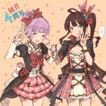 2girls ;d anniversary black_ribbon bow brown_hair cleavage_cutout confetti cowboy_shot diantha_(granblue_fantasy) dress flower granblue_fantasy hair_bow hanarito holding_hand lavender_eyes lavender_hair linaria_(granblue_fantasy) multiple_girls one_eye_closed open_mouth orange_background pink_hair plaid red_bow ribbon rose side_ponytail simple_background smile yellow_eyes
