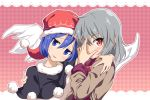 2girls :3 blue_eyes blue_hair blush capelet commentary_request doremy_sweet eyebrows_visible_through_hair gin'you_haru grey_hair hair_between_eyes hand_on_another's_shoulder hand_over_face hat head_tilt highres kishin_sagume looking_at_viewer multiple_girls pom_pom_(clothes) red_eyes short_hair single_wing smile touhou upper_body wings