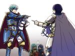aqua_hair armor blue_eyes blue_hair brother_and_sister cape closed_eyes eirika ephraim father_and_daughter fire_emblem fire_emblem:_kakusei fire_emblem:_seima_no_kouseki fire_emblem_heroes gloves green_eyes green_hair horse ikeimen krom long_hair lucina male_focus polearm short_hair siblings smile spear weapon