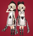 2girls arm_at_side arm_up bangs black_footwear black_hair black_panties black_ribbon blush boots bow brown_eyes closed_mouth commentary_request frilled_tabard frills gloves gradient_hair hair_between_eyes hands_clasped hands_up heart heart-shaped_pupils heart_print light_brown_hair mabuta_(byc0yqf4mabye5z) mahou_shoujo_ikusei_keikaku mahou_shoujo_ikusei_keikaku_jokers multicolored_hair multiple_girls own_hands_together panties parted_lips red_background ribbon salute short_hair shufflin side-tie_panties simple_background spade-shaped_pupils spade_(shape) standing striped striped_ribbon symbol-shaped_pupils tabard underwear white_bow white_gloves