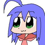 00s 1girl 2009 ahoge bkub_(style) blue_hair green_eyes izumi_konata long_hair lucky_star marcy_doggu pixiv school_uniform simple_background solo