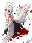 1girl ahoge angel_wings artist_name bare_shoulders blood bloody_wings choker crying dated feathers feet halo highres looking_at_viewer original pointy_ears pool_of_blood red_eyes sitting tikeworld white_wings wings