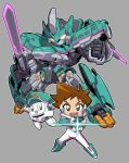 1boy bodysuit brown_eyes brown_hair chibi e5_hayabusa_(shinkalion) hayasugi_hayato king_of_unlucky male_focus mecha open_mouth outline pilot_suit robot shinkansen_henkei_robo_shinkalion smile spiky_hair sword weapon white_outline