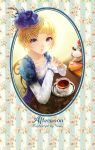 1girl artist_name blonde_hair blue_dress blue_eyes chair cup cupcake dessert dress elbows_on_table english floral_print food fruit hair_ornament hat highres looking_at_viewer original short_hair sitting spoon strawberry table teacup top_hat youzixiaoming