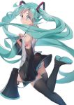 1girl aqua_eyes aqua_hair aqua_nails aqua_neckwear ass bare_shoulders black_footwear black_skirt boots closed_mouth commentary_request detached_sleeves feet_out_of_frame from_side grey_shirt hatsune_miku headphones highres holding long_hair long_sleeves looking_at_viewer looking_to_the_side megaphone miniskirt nail_polish necktie number_tattoo pleated_skirt shirt shoulder_tattoo simple_background skirt smile solo tattoo thigh-highs thigh_boots ttc twintails very_long_hair vocaloid white_background x-ray