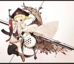 1girl ak-47 ammunition_belt animal assault_rifle bangs bird bird_wings black_bow black_hat black_legwear black_neckwear blonde_hair blunt_bangs boots bow brown_footwear commentary_request copyright_request covered_mouth cross-laced_footwear dress feathered_wings gun hat highres holding holding_gun holding_weapon jacket jacket_on_shoulders lace-up_boots letterboxed looking_at_viewer mabuta_(byc0yqf4mabye5z) mortarboard necktie owl pocket rifle ringlets short_hair short_sleeves sidelocks solo star thigh-highs thighhighs_under_boots twintails violet_eyes weapon weapon_request white_dress white_jacket wings