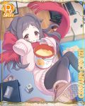 1girl bucket card_(medium) chair computer_mouse cygames food ghost izumo_miyako keyboard official_art pantyhose princess_connect! pudding scarf sweater tissue_box transparent