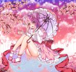 1girl :d artist_name cherry_blossom_cookie cherry_blossoms clouds cookie_run dated highres long_hair open_mouth outdoors panties pantyshot pantyshot_(sitting) parasol pink_footwear pink_hair pink_skirt pink_sky puddle rain ripples sitting skirt smile solo tikeworld umbrella underwear