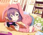 1girl :o :x absurdres animal_hood bangs blue_eyes blue_shorts blush book bunny_hood carpet commentary_request controller curtains door dualshock dutch_angle figure flower_pot foreshortening full_body game_controller gamepad glint handheld_game_console highres holding hood hood_up hoodie idolmaster idolmaster_million_live! indoors long_sleeves mochizuki_anna nintendo_ds on_floor open_mouth pillow pink_legwear plant playing_games playstation_vita polka_dot poster_(object) potted_plant purple_hair shelf shiny shiny_hair shiokazunoko short_hair shorts socks solo sony stuffed_animal stuffed_bunny stuffed_toy