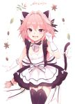 1boy :3 :d alternate_costume animal_ears apron astolfo_(fate) bangs bell bell_choker black_bow black_choker black_dress black_legwear blush bow braid cat_ears cat_tail catboy character_name choker commentary cowboy_shot dot_nose dress dress_bow elbow_gloves enmaided eyebrows_visible_through_hair fang fate/apocrypha fate_(series) flower frilled_dress frills garter_straps gloves hair_between_eyes hair_bow hair_intakes hand_up heihei highres jingle_bell kemonomimi_mode lace lace-trimmed_thighhighs large_bow leaf long_hair looking_at_viewer maid maid_apron maid_headdress male_focus multicolored_hair open_mouth paw_pose petals pink_hair short_dress simple_background single_braid sleeveless sleeveless_dress smile solo standing streaked_hair striped striped_bow tail tail_bow thigh-highs trap very_long_hair violet_eyes white_apron white_background white_bow white_gloves white_hair zettai_ryouiki