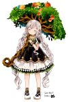 1girl apple braid closed_eyes commentary copyright_request dress food fruit harikamo long_hair pointy_ears puffy_short_sleeves puffy_sleeves short_sleeves simple_background smile solo tree twin_braids very_long_hair white_background white_hair wristband