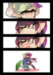 1girl 2girls aori_(splatoon) beanie black_border border comic cousins hat hotaru_(splatoon) hug japanese_clothes kimono multiple_girls pointy_ears purple_hair silver_hair smile splatoon splatoon_2 tears tentacle_hair wong_ying_chee
