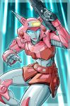 1girl 2008 antennae autobot beam_rifle commentary dated elita_one energy_beam energy_gun glowing glowing_eyes highres insignia lips mecha ray_gun rex-203 robot science_fiction shiny signature transformers weapon