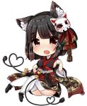 1girl :d animal_ears azur_lane bangs bell black_footwear black_hair black_kimono blush bob_cut breasts cat_ears chibi chiitamu commentary_request eyebrows_visible_through_hair fang fox_mask full_body heart highres japanese_clothes jingle_bell kimono large_breasts long_sleeves looking_at_viewer mask mask_on_head open_mouth panties red_eyes sideboob simple_background sitting smile solo thick_eyebrows thigh-highs underwear white_background white_legwear white_panties wide_sleeves yamashiro_(azur_lane)