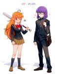 1203_taro 1boy 1girl alternate_costume baseball_bat closed_eyes glasses lina_inverse orange_hair purple_hair red_eyes school_uniform slayers xelloss