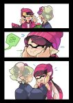 1girl 2girls aori_(splatoon) beanie black_border border comic cousins hat hotaru_(splatoon) japanese_clothes kimono multiple_girls pointy_ears purple_hair silver_hair smile splatoon splatoon_2 tentacle_hair wong_ying_chee